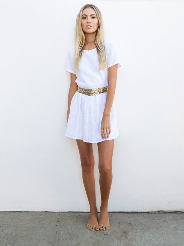 By The Sea Mini Dress in White , Dress - Studio Agency, Maarli Boutique  - 1