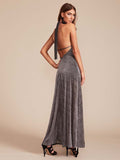 Cadillac Halter Dress in Gunmetal