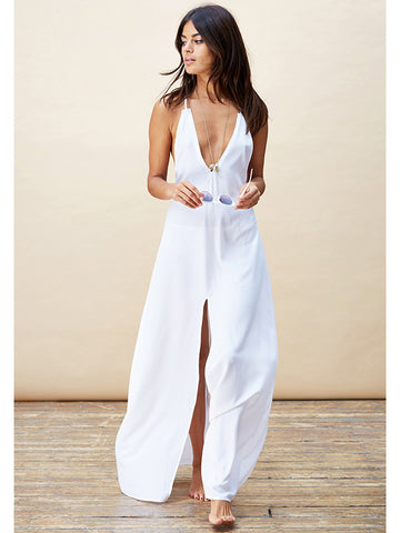 Cross Back Maxi Dress in White