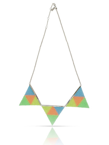 Fruity Flag Necklace - Coral/Green