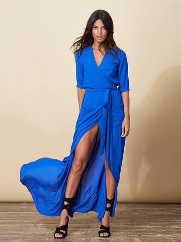 Zahara Wrap Dress in Royal Blue
