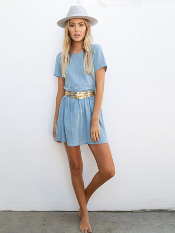 By The Sea Mini Dress in Blue