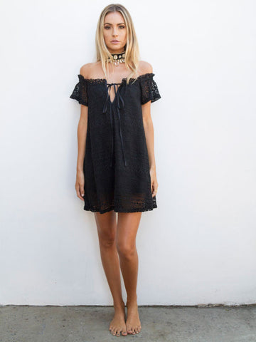 Isola Crochet Dress in Black