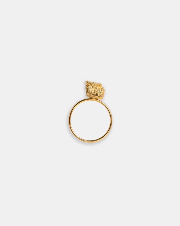 Bread Crumble Cube Ring, Gold