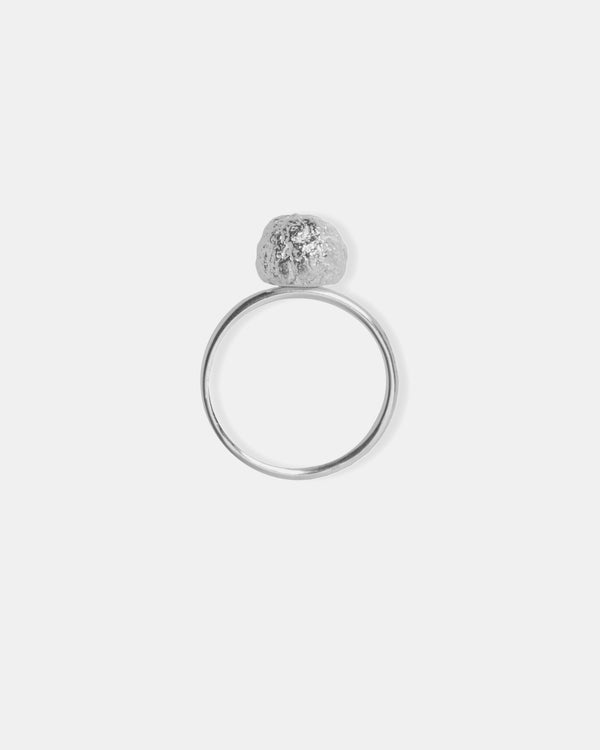 Bread Crumble Ball Ring, Sterling Silver