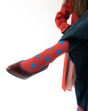 Bonne Maison Polka Dot Crimson Socks