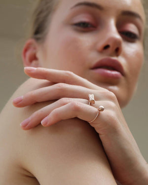 Eliska Bread Crumble Cube Ring, Rose Gold