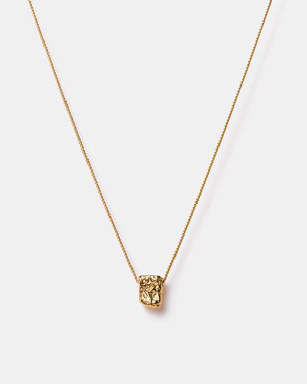 Bread Square Crumble Necklace, Gold