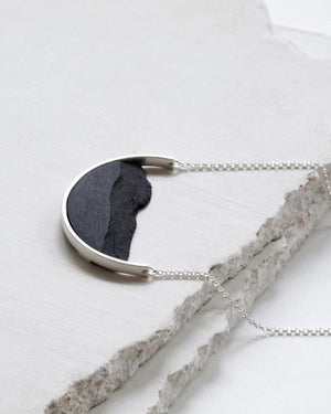 Sterling Silver Half Curve Necklace, Black