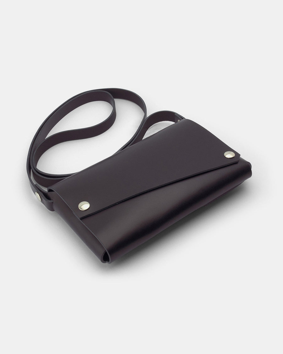 Fold Clutch Bag, Black Leather