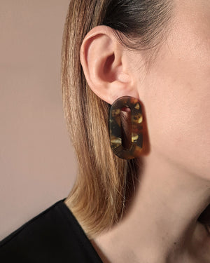 Kohut Large Hollow Oval Earrings