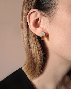 Kohut Small Amber Tube Earrings