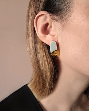 Kohut Grey/Amber Tube Earrings