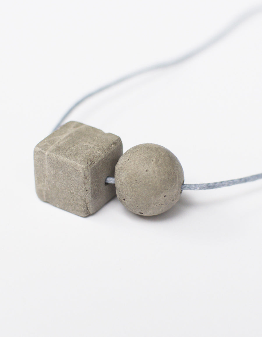 Cube and Sphere necklace, Gray