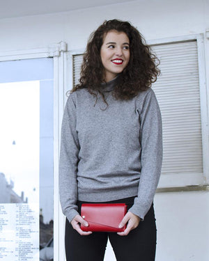 Lemur Fold Clutch Bag, Red Leather