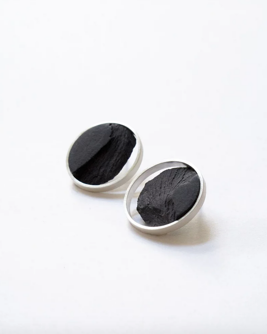 DSNU Silver Circle Frame Earrings
