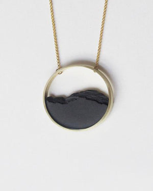Gold Circle Frame Necklace, Black