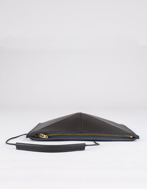 Mini Fold Leather Shoulder Bag, Black