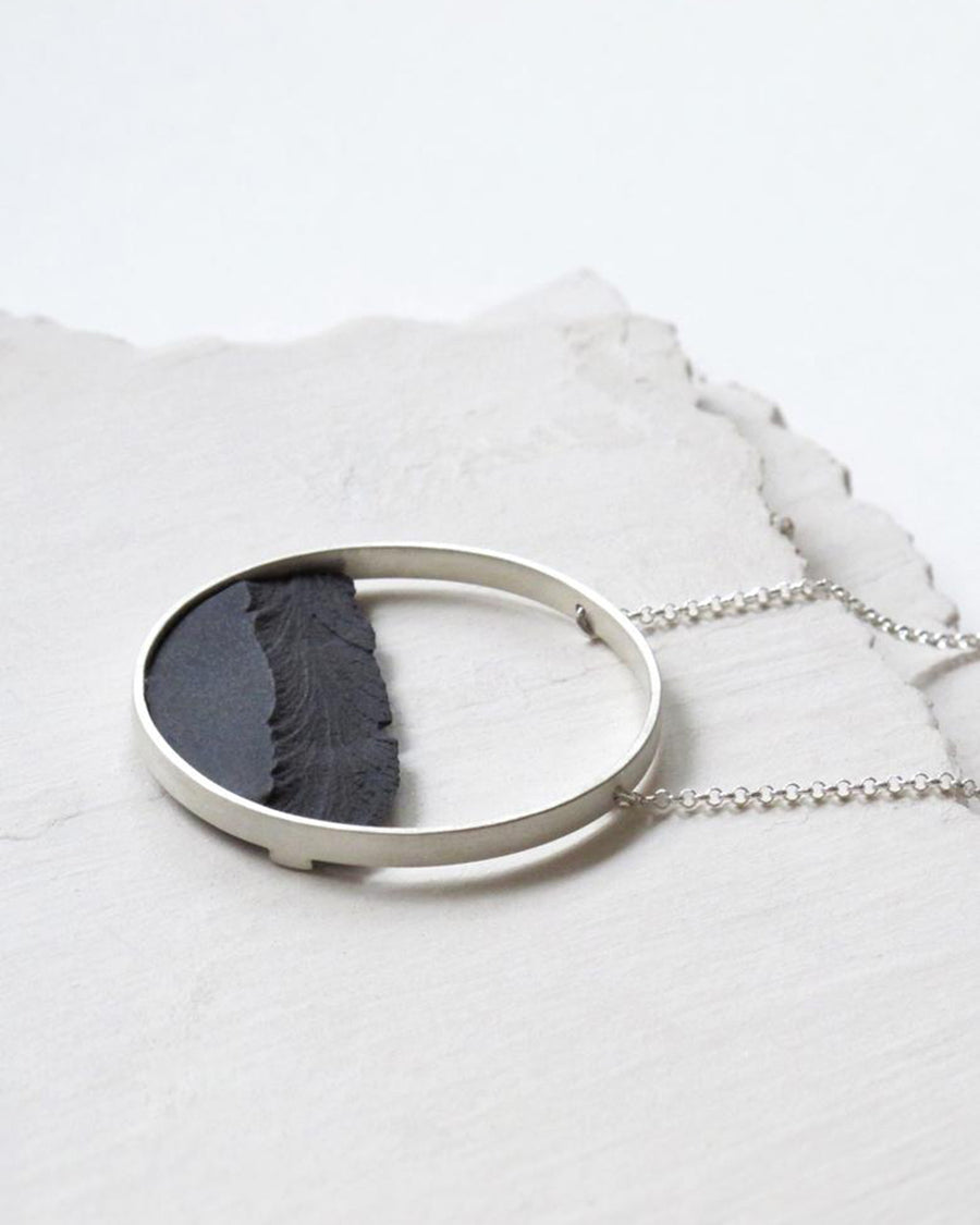 Sterling Silver Circle Frame Necklace, Black