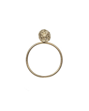 Eliska Bread Crumble Ball Ring, Gold