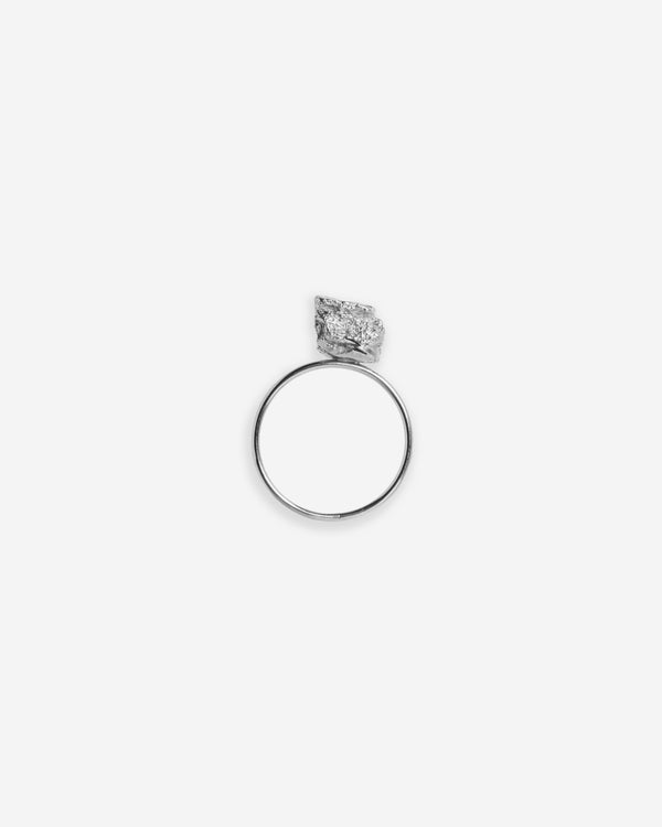 Bread Crumble Cube Ring, Silver