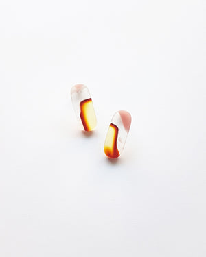 Kohut Pink/Amber Tube Earrings