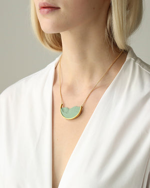 Gold Half Circle Frame Necklace, Green
