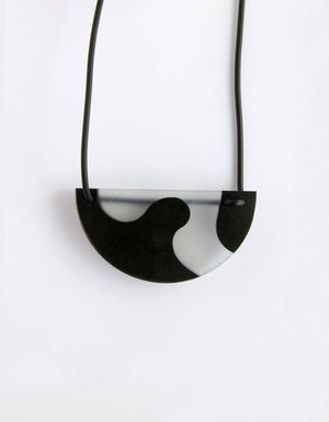 Black & Clear Half Moon Necklace