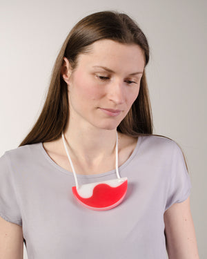 Red & White Half Moon Necklace