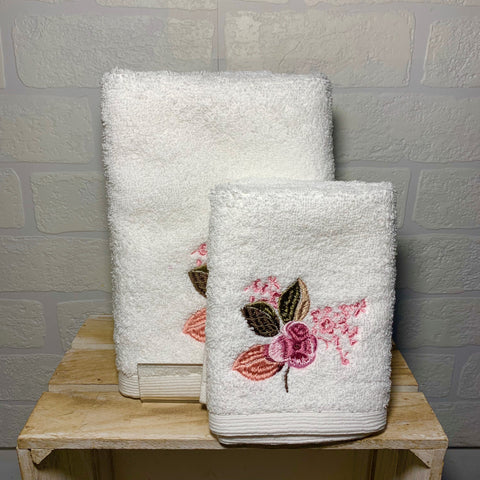 Pink Floral Face Washer and Hand Towel