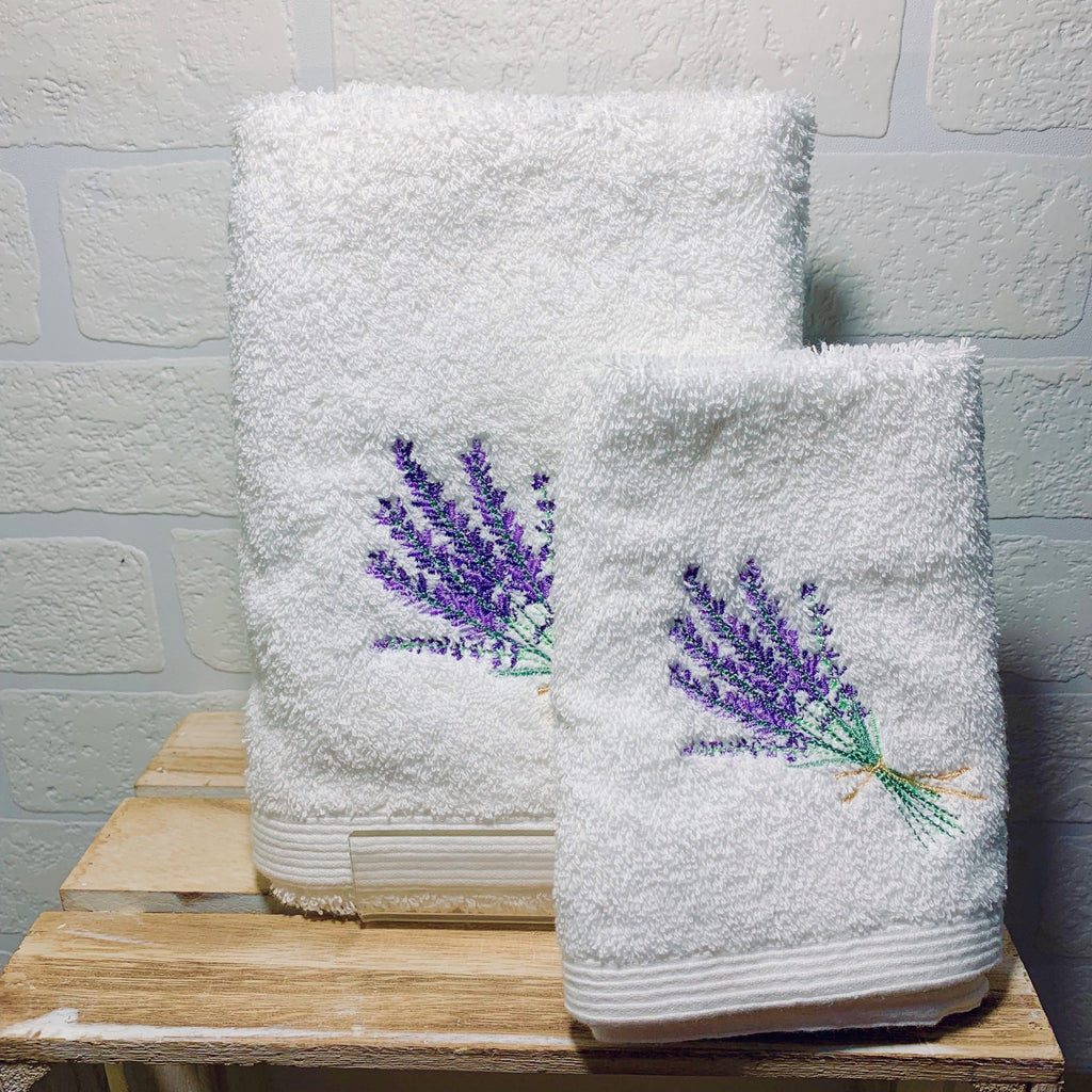 Lavender Face Washer and Hand Towel