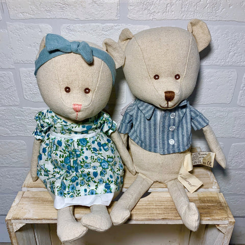 Louis and Lorraine Linen Bears