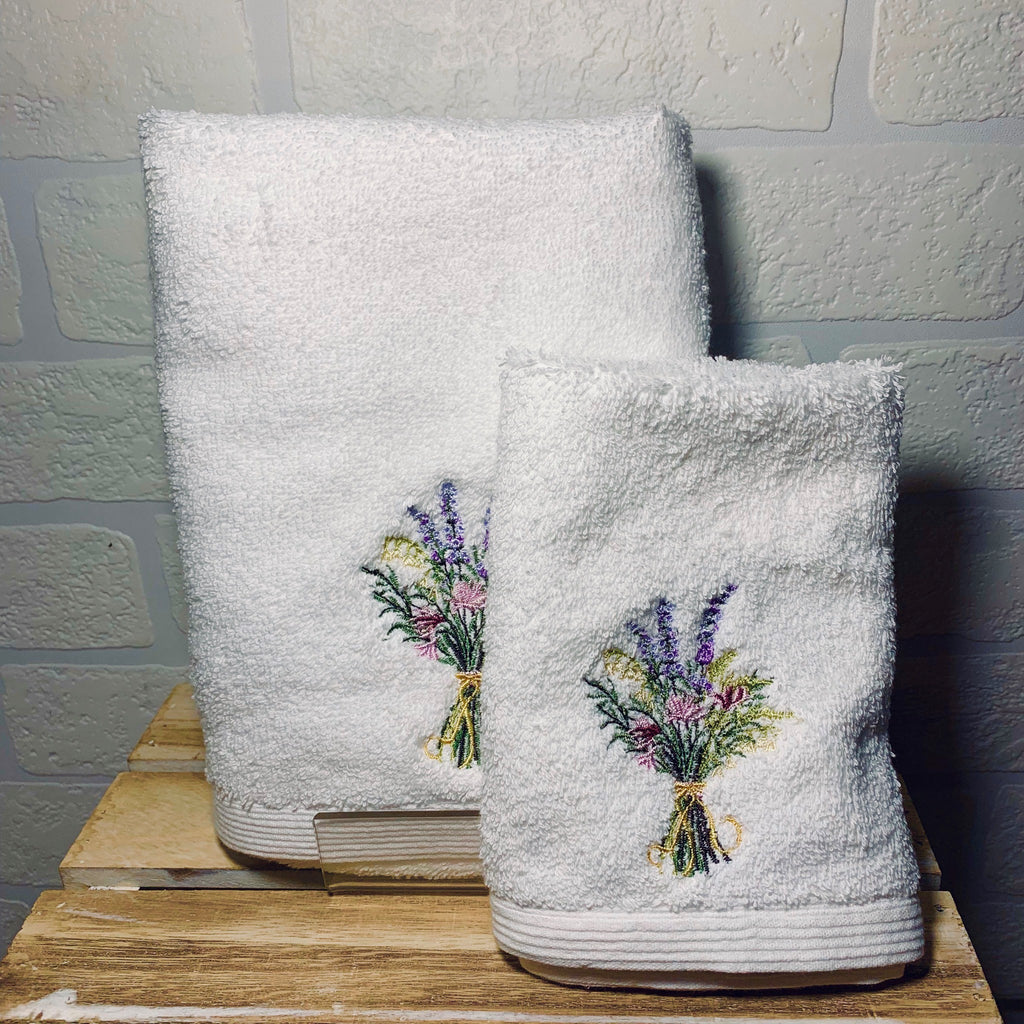 Purple Posy Face Washer and Hand Towel