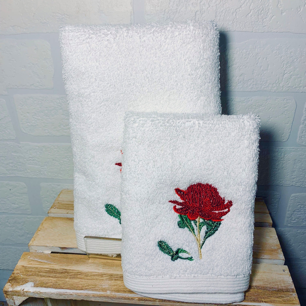 Waratah Face Washer and Hand Towel
