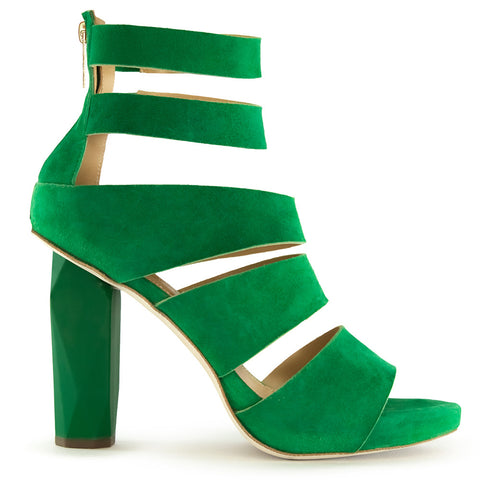 jungle green high heel sandal