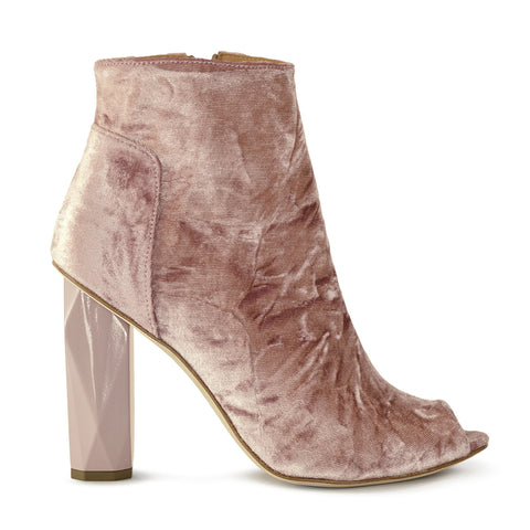 Blush Velvet Peep Toe Boot
