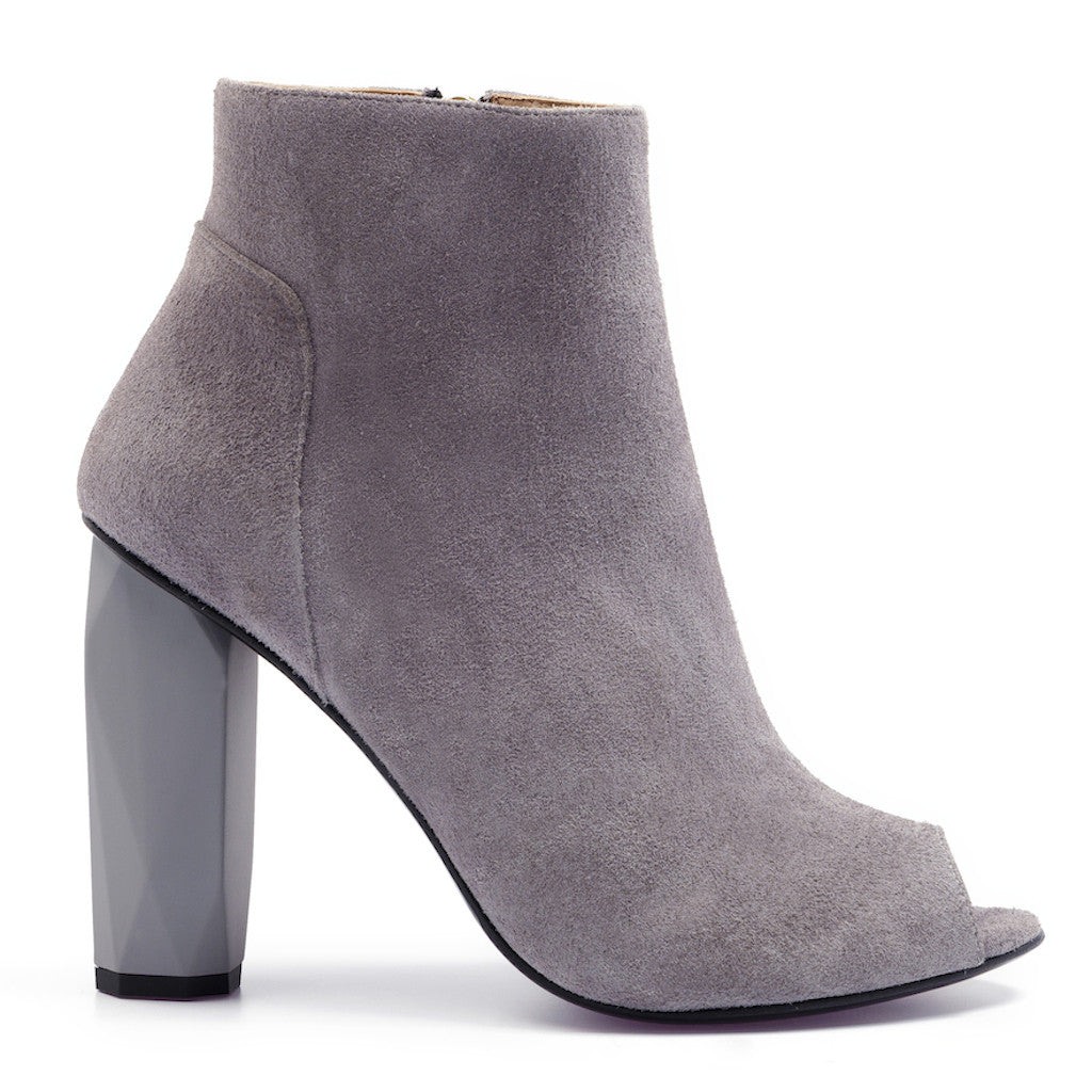 Pebble Grey Peep Toe Boot