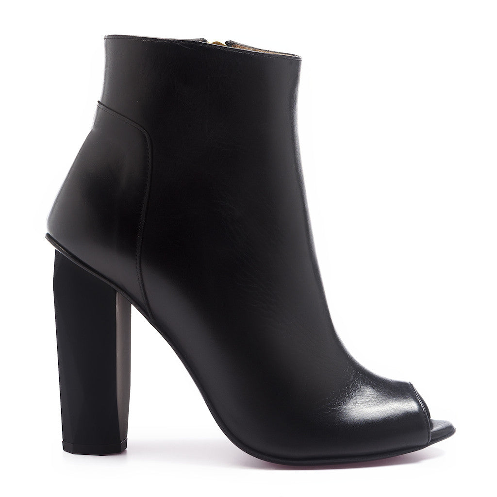 100% leather mid boot high heel