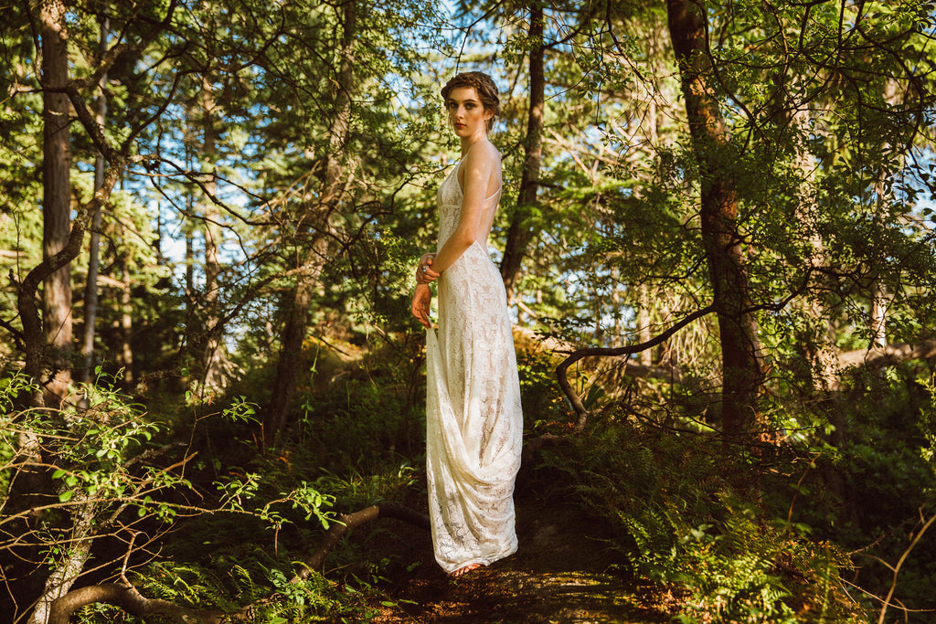 Backless Stretch Lace Wedding Dress by Vancouver Bridal Designer