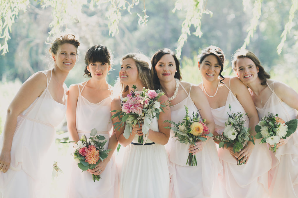 Custom Wedding Dress Designer creates Blush Chiffon Bridesmaids Dresses, Chiffon Wedding Gowns, Knee Length Chiffon Dresses
