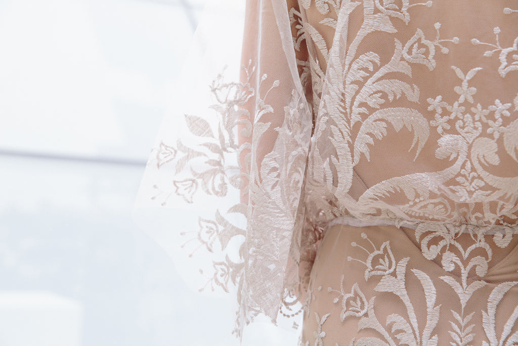 Elle Gown | Back Detail of Lace Embroidery Boho Wedding Dress