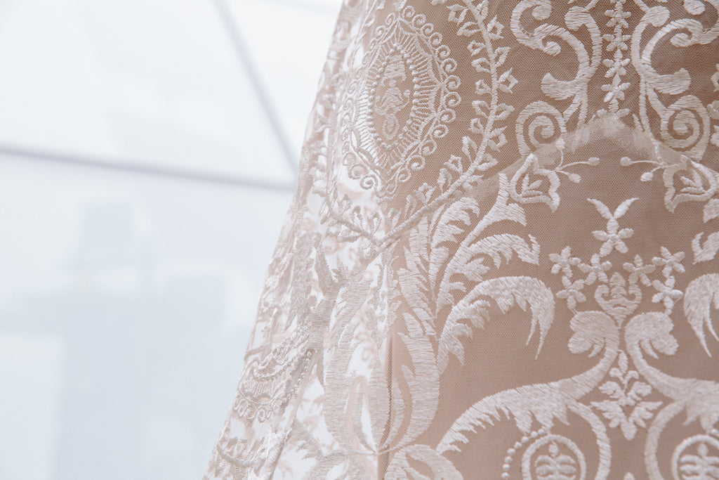 Elle Gown | Back Lace Detail of Embroidered Wedding Dress