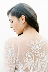 Illusion embroidered lace wedding gown made in Vancouver. Shop Wedding Dresses
