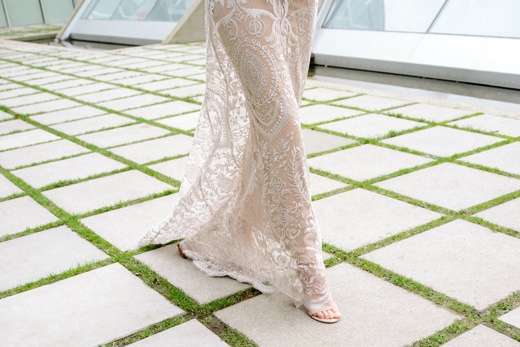 Elle Wedding Dress | Lace Embroidered Sheath Gown with Butterfly Sleeves