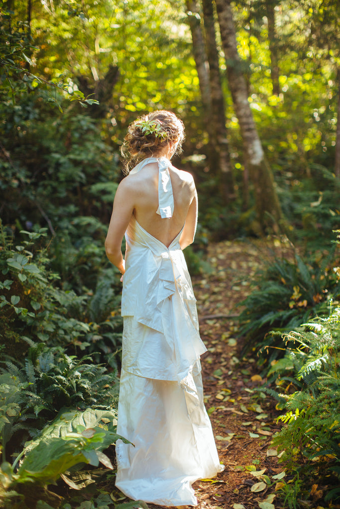Stunning Backless Silk Wedding Dress by Vancouver Bridal Designer Elika In Love
