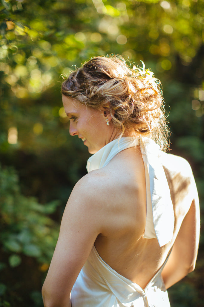 Tofino Destination Wedding | Backless Draped Floor Length Wedding Dress by Elika In Love