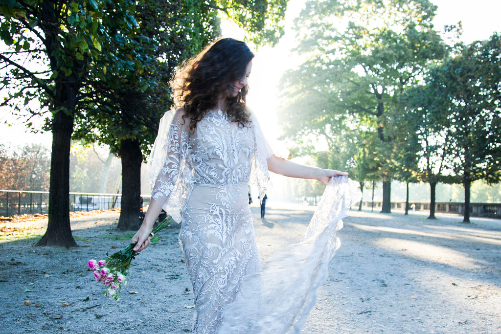 sheath lace wedding dress | handmade by Vancouver wedding dress designer Elika In Love