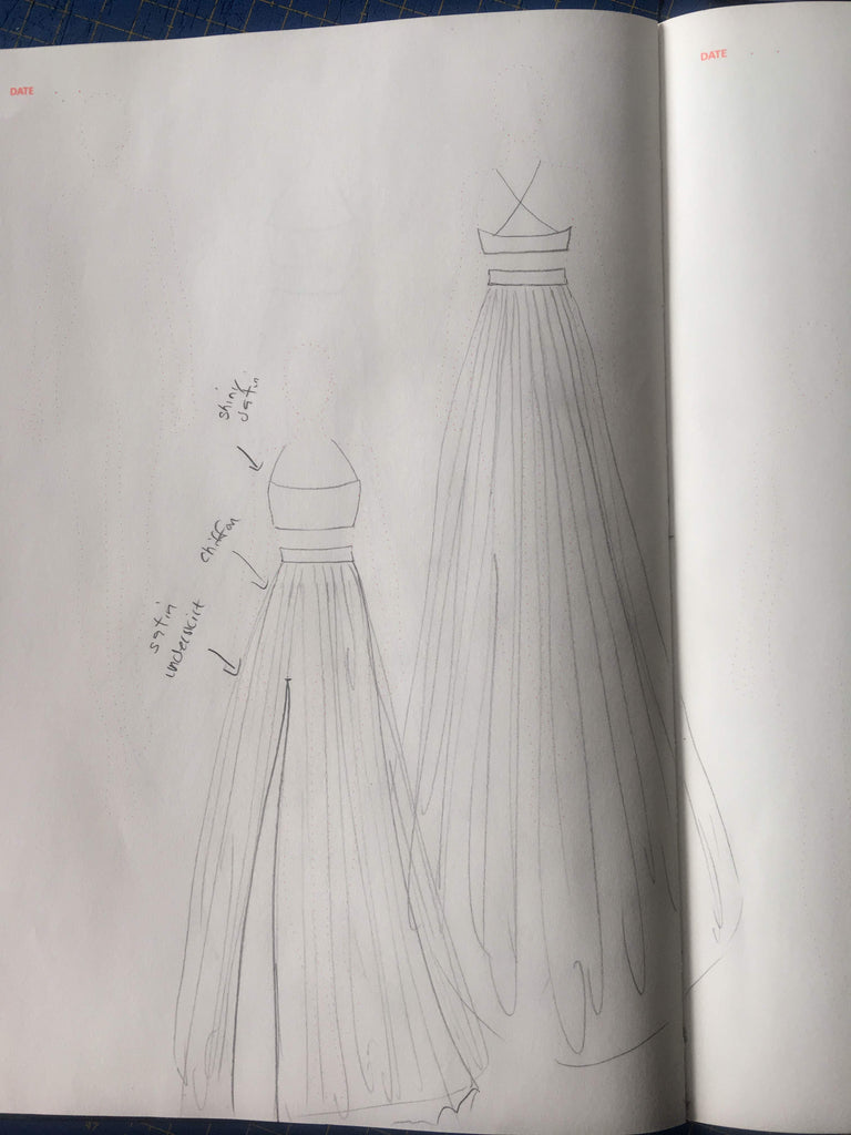 Sketch of custom wedding dress by Vancouver bridal designer Elika In Love.