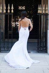 Mykonos Gown | Backless criss cross strappy wedding gown handmade in Vancouver.