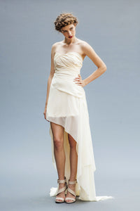 Asymmetrical Chiffon Bridal Dresses Handmade in Vancouver.